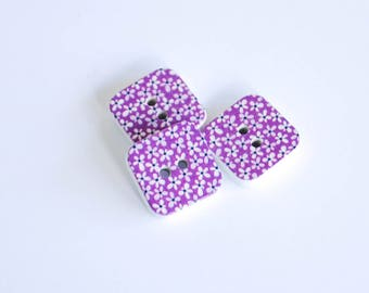 5x Square Wooden Buttons - Purple with tiny flowers - 15mm 2 hole buttons