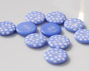 Wedgewood Blue Polka Dot Buttons - Pack of 10