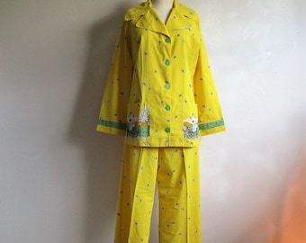 7ed3248647 Vintage 60s Novelty Pajama Set Yellow Carriage Figural Print Cotton 2 pc  1960s Handmade PJs Top and Bottom