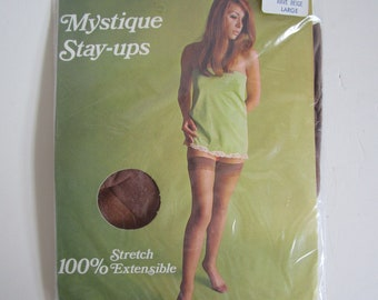 08834936f Vintage 1970s Stockings Womens NOS Hoisery Rave Beige Stay-Ups Nylons Size  Lrg Large