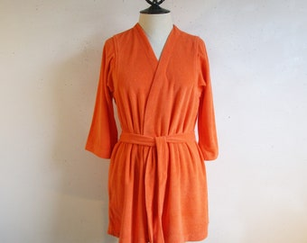 6062bcdc1515c Vintage Orange Terry Beach Cover Up 1970s Cotton Blend Knit Terry Cloth 70s  Caron Belted Casual Resort Jacket Medium
