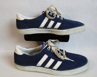 8971eb576d21 1973 Vintage Mens Adidas Sneakers Blue Canvas 1970s Casual Kiel White  Stripe 70s Athletic Skater Shoes Size 10 Made in Taiwan