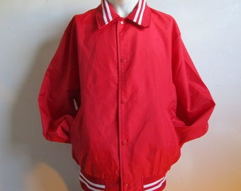 4668aa01d80 Vintage 80s Red Matte Satin Jacket Sport Nylon White Chalk Line 1980s Mens  Casual Snap Windbreaker Large