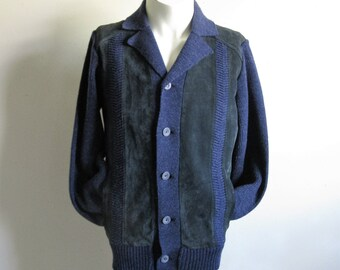 45ea52b822981d Vintage 70s Suede Mens Sweater Sears Navy Blue Suede Knit 1970s Mens  Cardigan Medium