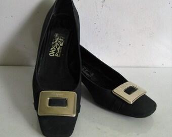 253cafd22ac 80s Salvatore Ferragamo Shoes Vintage Black Canvas 1980s Designer Dress Shoes  Low Heel Gold Bow 9.5B