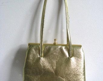 b367fdd61641 Vintage 1960s Handbag John Hort Gold Faux Leather Mini Purse