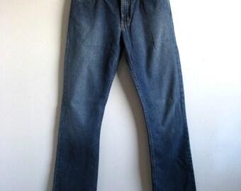 0621d79410b Vintage Guess Jeans 1980s Dark Blue Low Rise Boot Cut 80s Cotton Denim Pants  26