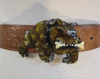 1992 Siskiyou boucle Vintage 1990 bouledogue argent émail or boucle 90 s  boucle de ceinture animaux Made in USA 5e532a8be3f