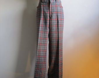 Vintage 80s Mens Plaid Pants Navy Blue Red Casual Sport 1980s Tall Trousers 36W 43L