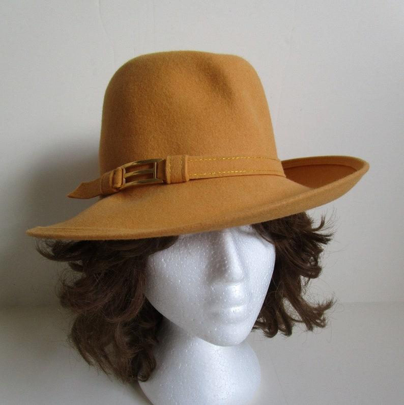 fba1e5bfaea18f 1980s Vintage Furfelt Hat Mustard Yellow Designer Andre 80s | Etsy