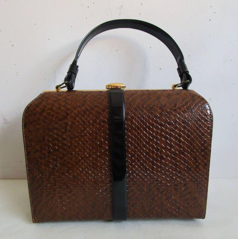 00169583511a Vintage John Hort 50s Handbag Brown Reptile Texture Black