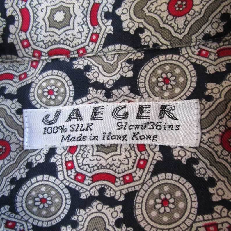 Vintage Jaegar 80s Medallion Blouse Dark Blue Silk Twill Ornate 1980s Executive Long Sleeve Shirt Large