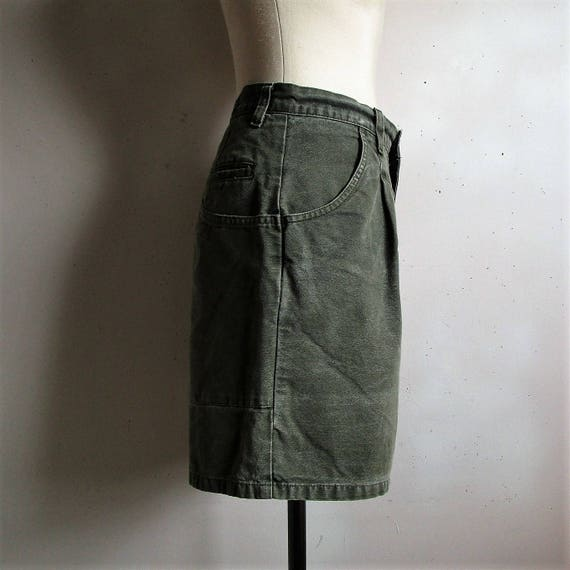 Vintage Mens 80s Khaki Shorts MEC Mountain Equipment Coop Hiking Cotton Green 1980s Shorts 32W MPoM7dyyi