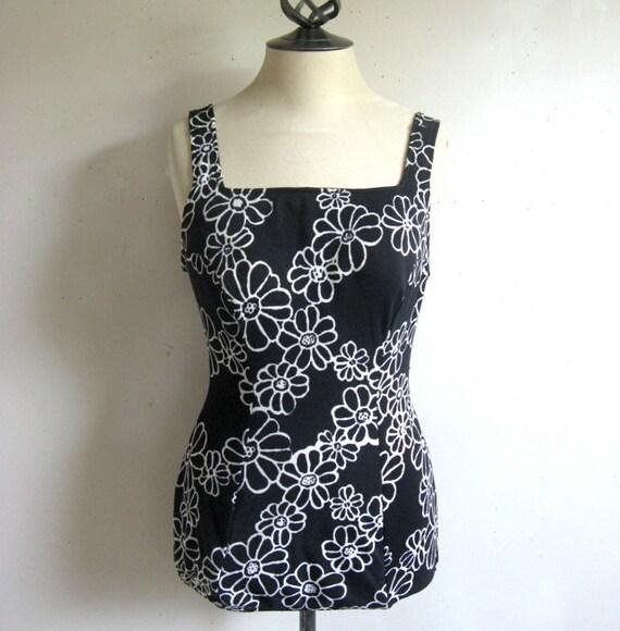 Vintage 1960s Bathingsuit SEA QUEEN Black White Fl