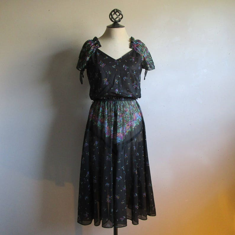 598df6e4a4 Gypsy Chic 70s Floral Dress Vintage Black Sheer Nylon Knit