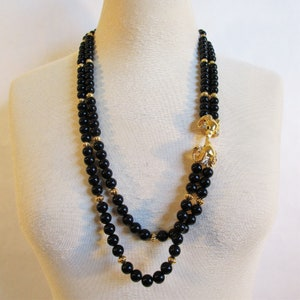 Pendant KJL Jewelry Estate Jewelry Pearl Necklace Elegant KJL for AVON Jewelry Set Avon Clips Onyx Cabochon Kenneth Jay Lane Collar