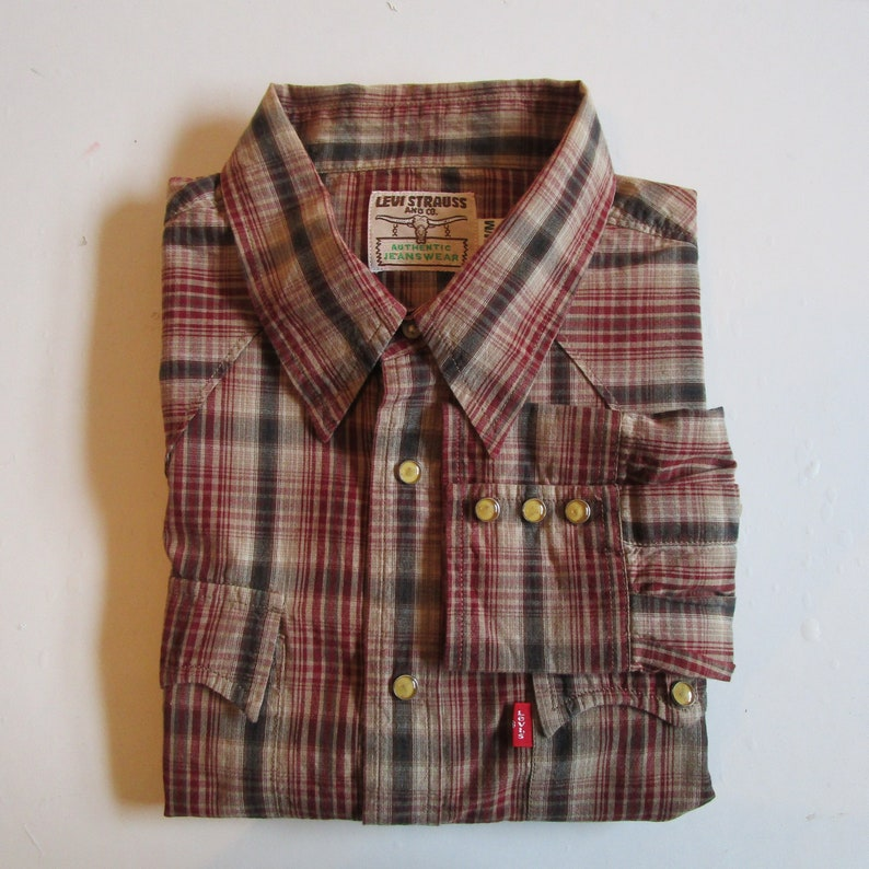 96b091129d2 Vintage Early 1990s Levi Strauss Shirt Brown Burgundy Plaid