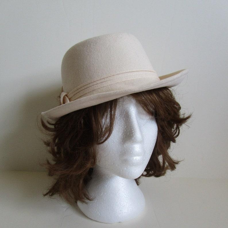 490180f8842bdf 80s Cream Wool Womens Fedora Kates Boutique Wool Felt Vintage | Etsy