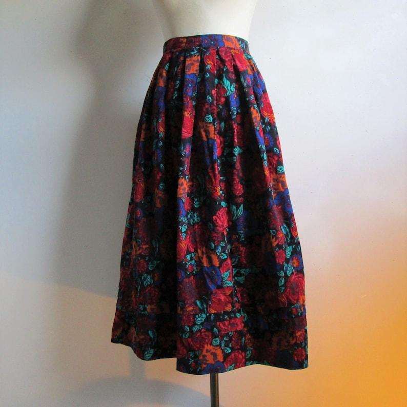 96f37d678b 80s Laura Ashley Pleat Floral Skirt Black Russet Cotton   Etsy