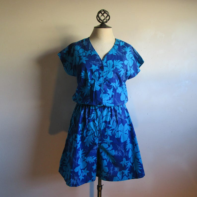 835a52360c8 Tropical Floral Blue 80s Romper Vintage Summer Made in Hawaii
