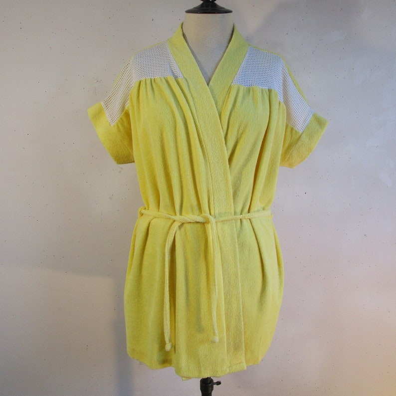 fc68e8838b Vintage 70s Lufty Beach Cover Up Yellow Cotton Terry Cloth