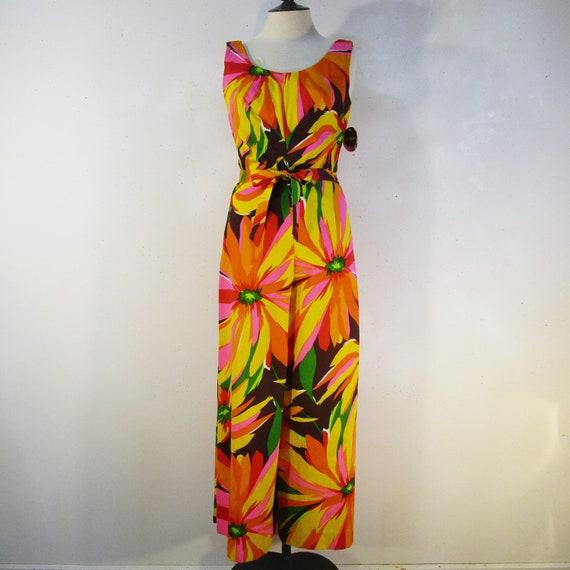 3df8f57b660 1960 s Orange Floral Jumpsuit NOS Marjorie Hamilton Rare