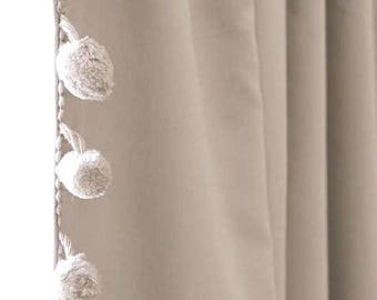 More Colors Grey Cotton Pom Curtain