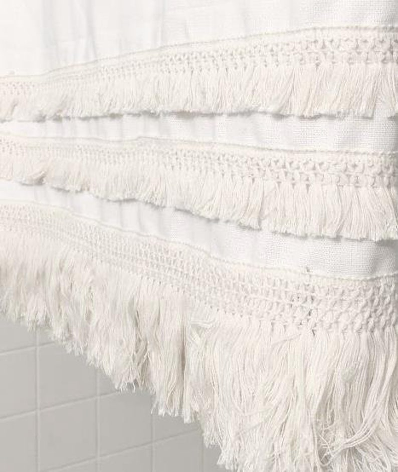 White Macrame Multi Row Fringe Cotton Shower Curtain   Color Options