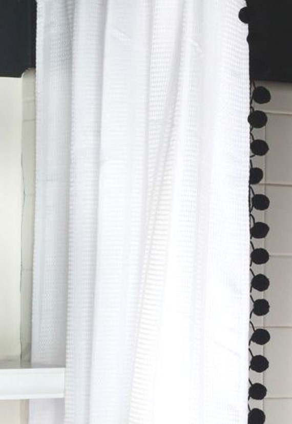 White Cotton Waffle Weave Shower Curtain With Black Pom