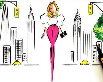 Custom Portrait illustration / Custom Fashion Illustration / NYC Illustration / New York City Art /  Custom Portrait / Watercolor Portrait
