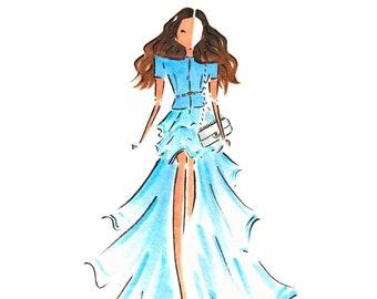 Custom Fashion illustration /  Custom Portrait Illustration / Hand Drawn Custom Portrait /  Fashion Illustration / Watercolor Portrait