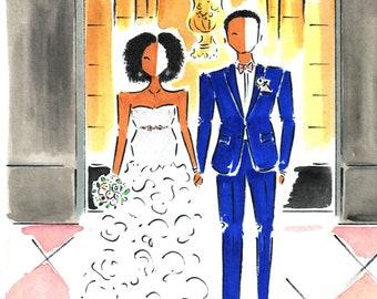Watercolor Wedding Portrait / Custom Wedding Illustration / Anniversary Gift / Paper Anniversary / Custom Portrait / Couple Illustration