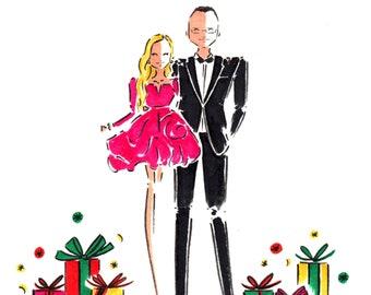 Custom Portrait Christmas Card / Custom Christmas Portrait / Couple Illustration Christmas Card / Custom Illustration Holiday Card