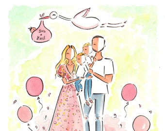 Custom Portrait Baby Announcement / Custom Couple Portrait / Watercolor Baby Announcement / Baby Announcement Card / Watercolor Portrait