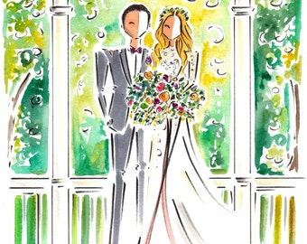 Custom Couple Portrait / Watercolor Wedding Illustration /  Custom Portrait illustration / Wedding Portrait Illustration / Custom Portrait