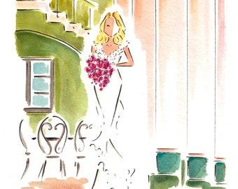 Custom Bridal Portrait / Custom Bridal illustration / Custom Watercolor Portrait / Bridal Art / Wedding Portrait / Bridal Gown Illustration