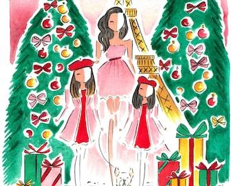 Custom Family Portrait / Custom Portrait Holiday Card / Family Illustration Hanukkah Card / Custom Watercolor Portrait / Hanukkah Card