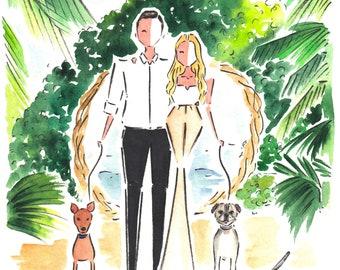 Custom Couple Portrait / Wedding Invite Illustration / Watercolor Portrait Illustration / Couple Portrait / Custom Watercolor Portrait