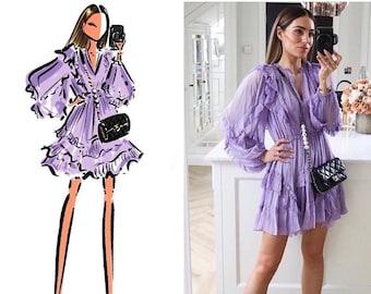 Custom Portrait Illustration / Custom Fashion illustration / Hand Drawn Portrait / Custom Fashion Drawing / Custom Fashion Art