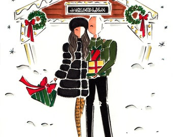 Custom Portrait Christmas Card / Custom Family Portrait / Family Illustration Christmas Card / Custom Illustration Holiday Card / Hand Drawn