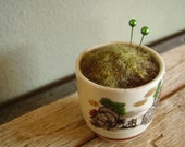 RESERVED: Mossy wool pincushion in a vintage ceramic sake cup and tiny wool seedling in a terra cotta pot