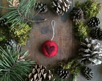 Round heart Christmas ornament, Red,  needle-felted holiday decoration, red wool heart Christmas ornament, newlywed ornament, Valentine gift