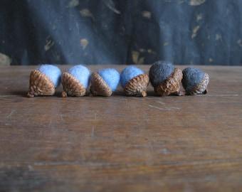 Felted acorns, set of 6, Blue Ombre Mix, blue felt acorns, blue waldorf acorns, blue ombre wool, woodland birthday party, winter decor