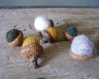 Felted acorns, set of 6, Friendly Pine Forest Medley, yellow felt acorns, fall table decor, waldorf autumn, woodland birthday decor