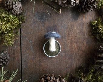 Felted amanita mushroom magnet in an upcycled lid, Slate Blue, wool toadstool home decor fridge magnet, blue magic mushroom, mushroom magnet