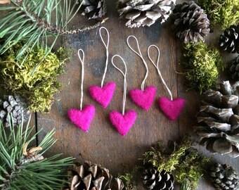 Felted heart ornaments, set of 5, Happy Raspberry, miniature felt heart Christmas ornaments, valentine for teacher, bright pink ornaments