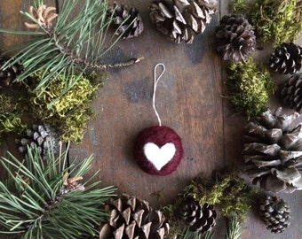 Round wool heart Christmas ornament, Garnet Red, Valentine's day ornament, white heart ornament, newlywed Christmas gift, heart decoration