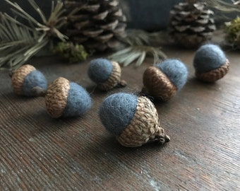 Felted acorns, set of 6, Slate Blue, blue wool acorns for waldorf children, fall and winter table decor, winter wedding, gifts under 20