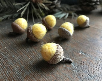Felted acorns, set of 6, Yellow, handmade wool Autumn seasonal bowl filler for natural home decor or Waldorf and Montessori color sorting