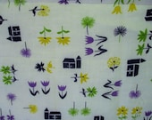 Vintage Novelty Barn Floral Print Cotton Feedsack Fabric, Green, Purple, Black, Yellow on White, Feedsack Cutter Fabric, 40 x 30 quot , 1 Pc.